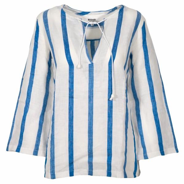 Shirt No.2 Leinen Tunika Blau gestreift